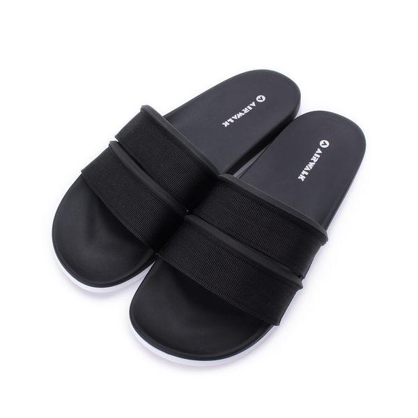 AIRWALK PU雙橫帶套式拖鞋 黑 A925220120 男女同款 鞋全家福