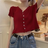 v字領上衣2020夏季新款韓版修身女式薄款短袖針織開衫短款v字領上衣小外套 嬡孕哺
