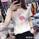 純棉短袖女2020新款寬鬆圓領白色t恤女動物上衣修身夏季裝體恤潮「時尚彩紅屋」