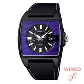 WIRED SEIKO副牌 太陽能紫色方形皮帶錶 公司貨 V145-X013T  高雄名人鐘錶