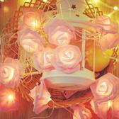 【BlueCat】粉色 白色玫瑰花LED燈串 (3米20燈) 室內裝飾