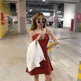 露肩洋裝韓國夏季寬鬆皺褶長袖透視襯衫防曬空調衫一字領露肩吊帶連身裙【博雅生活館】