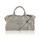 【BALENCIAGA】淺象灰 小銀釦 手提 斜背二用包(旅行袋) BA19000081