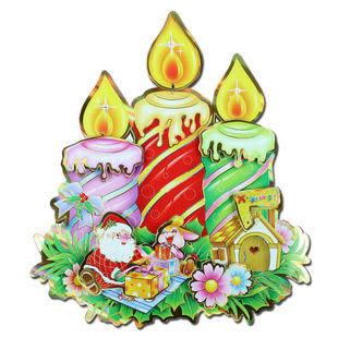 聖誕貼畫 鐳射蠟燭立體