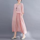 依多多 純色棉麻連身裙 4色(M~2XL)