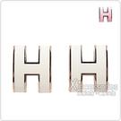 HERMES POP經典H字母LOGO立體簍空橢圓設計穿式耳環(米x粉金)