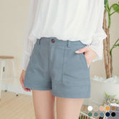 OrangeBear《BA3015》雙口袋純色高含棉挺括休閒短褲.10色--適 2L~6L