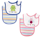 [Mamae] (2件套)美國 Luvable Friends 青蛙造型雙層毛巾布圍兜+條紋圖案墊背巾 瓢蟲寶寶口水巾