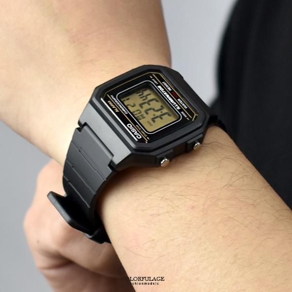 CASIO手錶 復古金線方型電子膠錶NECD17