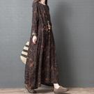 春裝新品1件85折 2020款韓版寬鬆大碼 中國風文藝印花 顯瘦棉麻長袖連身裙-不含配飾