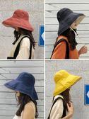 帽子 遮陽帽 漁夫帽女韓版百搭日系防紫外線遮臉帽子太陽帽遮陽帽防曬帽  歐萊爾藝術館