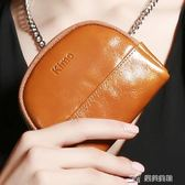 新款歐美復古時尚潮拉鍊牛皮女士小零錢包鑰匙包硬幣包 樂芙美鞋