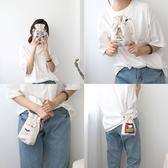 韓版 文藝迷你斜跨小布包 帆布包 抽繩束口袋 水桶包  斜挎包 束口袋【RB559】