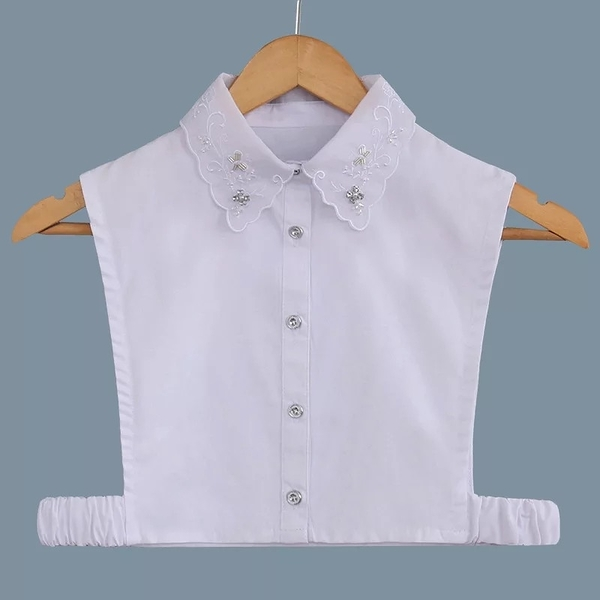 假領子假領片韓版假衣領T恤  寶石款 帽T洋裝襯衫針織大學T外套內搭白色[E1227]  預購.朵曼堤洋行