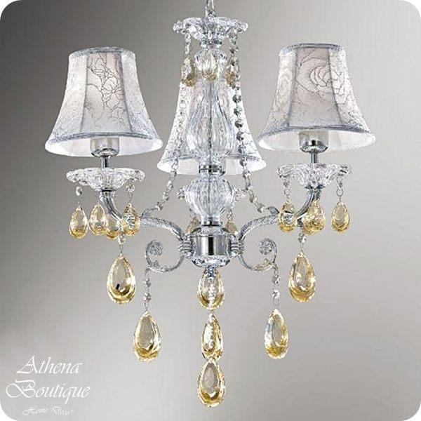 進口水晶布罩吊燈-高62cm-E27麗晶燈管x3(LED另計)【雅典娜家飾】A2L061