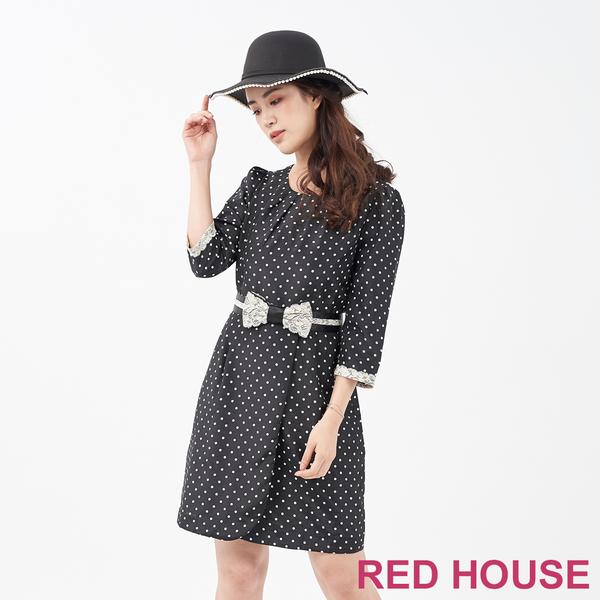 RED HOUSE-蕾赫斯-蕾絲蝴蝶結點點洋裝(共兩色)