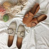 平底單鞋女新款韓版百搭一腳蹬方頭社會豆豆鞋 茱莉亞嚴選