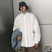 韓版素色寬松白襯衫男士休閒長袖襯衣【左岸男裝】