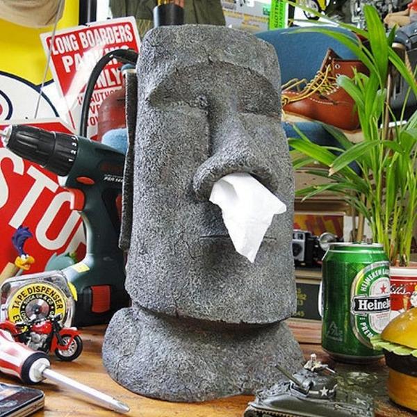 摩艾復活節島石像人臉像MOAI面紙抽面紙盒鼻涕款抖音紙巾抽盒筒 ciyo黛雅