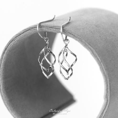 925純銀鏤空垂墜式勾針耳環【NPD33】一對