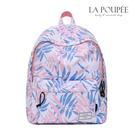 後背包 甜美粉嫩樹葉印花A4大容量書包-...