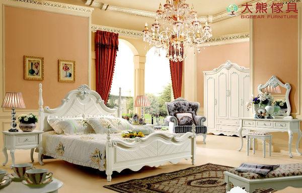 【大熊傢俱】2856 韓戀 歐式五尺床 床架 雕花床架 雙人床 田園田園風 韓式床 公主床 床台