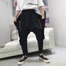 FINDSENSE H1 2018 夏季 新款 男 側邊拉鏈裝飾 吊襠褲 寬鬆