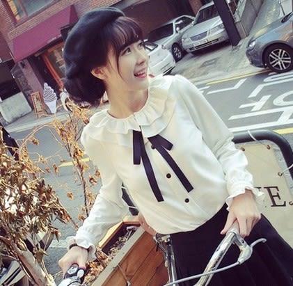 EASON SHOP(GU5288)荷葉領蝴蝶結領帶長袖白襯衫春秋女上衣服韓版合身木耳花邊白色