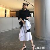 新款下擺不規則拼接開叉寬鬆連身裙女夏季中長款顯瘦短袖t恤裙子『艾麗花園』