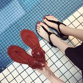 涼鞋 羅馬夾腳黑色平底人字沙灘鞋夾趾簡約鞋