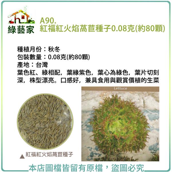 【綠藝家】A90.紅福紅火焰萵苣種子0.08克(約80顆)