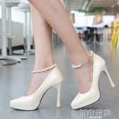 春秋季新款尖頭10公分高跟鞋女細跟成人禮18歲婚鞋性感大小碼單鞋 城市玩家