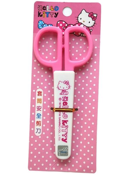 【卡漫城】 Hello Kitty 套筒 剪刀 粉白 ㊣版 附蓋子 勞作文具 金屬 凱蒂貓 兒童安全 scissors