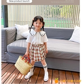藍小爸童裝夏裝新款女童裙子兒童寶寶韓版格子短裙百褶半身裙【小橘子】