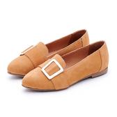 MICHELLE PARK 秋氛時尚 霧面尖頭方扣樂福鞋-橘棕