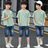 男童套裝 中大童韓版兩件套男孩夏裝潮衣