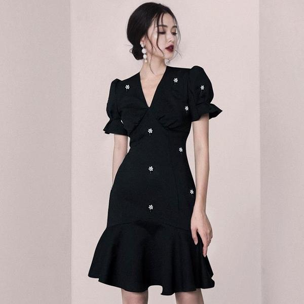 魚尾裙洋裝 法式復古小眾赫本風禮服小黑裙魚尾裙連衣裙輕奢宴會禮服平時可穿 夢藝家