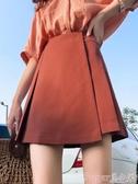新品褲裙春夏裝2020年新款防走光顯瘦焦糖色百褶A字半身裙BM小褲裙子女潮 suger