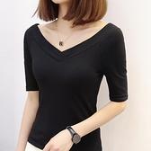 五分袖上衣 黑色T恤女中袖修身顯瘦性感漏背雙V領大領口低領打底衫-Ballet朵朵