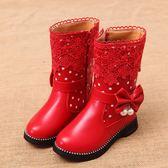 童鞋女童靴子秋冬新款中大童公主靴皮靴蝴蝶結兒童加絨棉靴潮 依夏嚴選