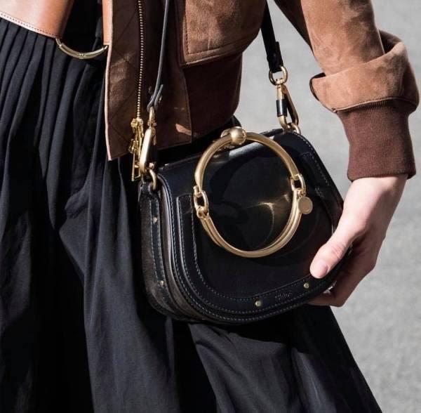 ■專櫃74折 ■全新真品■Chloe 小款金環 Nile小牛皮手鐲兩用包