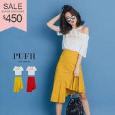 (現貨)PUFII-套裝 字母露肩上衣+不規則魚尾中長裙兩件式套裝 2色-0426 現+預 春【CP14491】