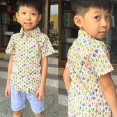 【韓版童裝】滿版熱汽球短袖襯衫-杏【BO160304015】
