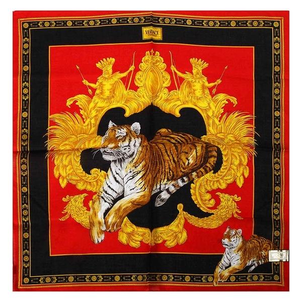 VERSACE古典老虎圖紋純棉手帕領巾(紅色)989017-30