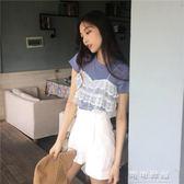 韓系chic蕾絲設計感復古百搭寬鬆拼接假兩件圓領短袖針織T恤上衣 可可鞋櫃