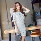 限時38折 韓國風名媛針織釘珠裝飾裙衫套...