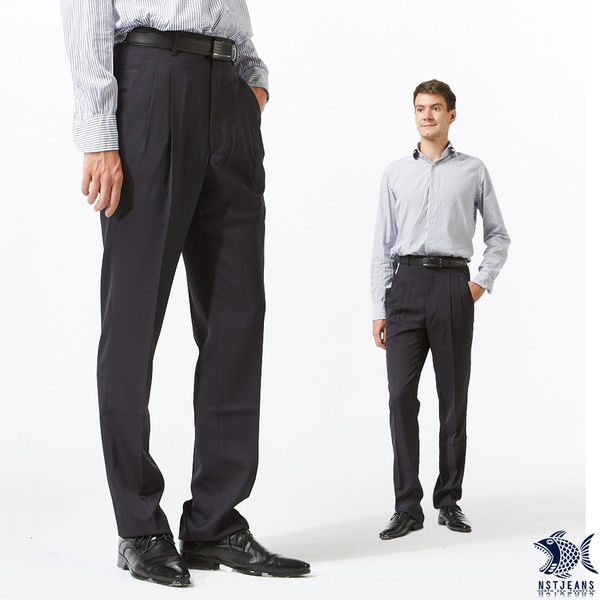 【NST Jeans】夏季西裝褲 炭黑素面 羊毛打摺西裝褲(中高腰寬版) 001(7253) 紳士 台製