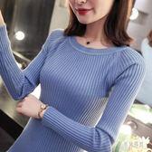 針織衫2019新款緊身毛衣女內搭修身長袖一字領針織衫套頭短款純色打底衫 QX319『男神港灣』