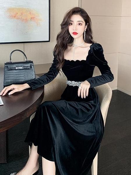 禮服長裙女秋冬新款性感氣質顯瘦黑色金絲絨連衣裙高貴洋氣晚禮服 優拓