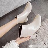 秋冬季新款英倫風方頭靴粗跟高跟鞋女士後拉錬保暖短靴馬丁靴 檸檬衣舎